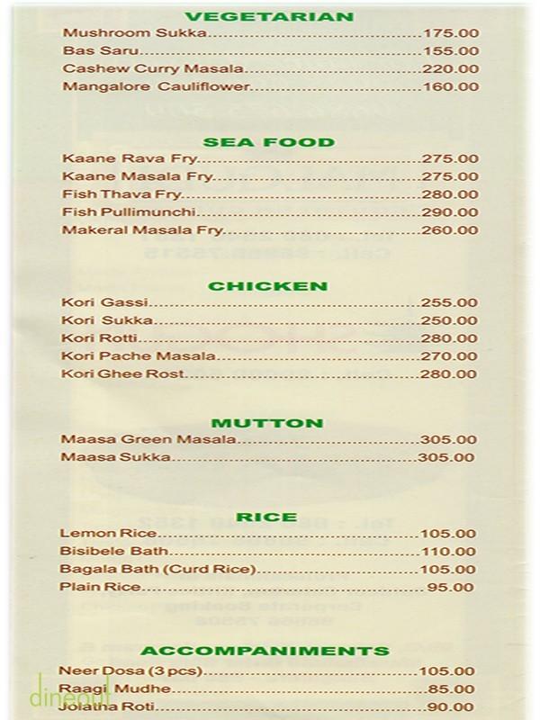Malgudi Restaurant Marathahalli Menu