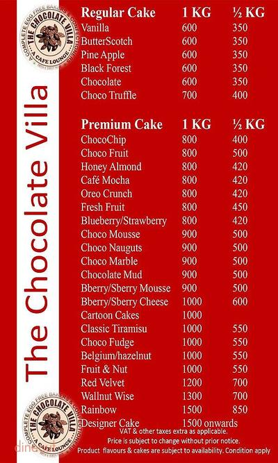 The Chocolate Villa Menu 9