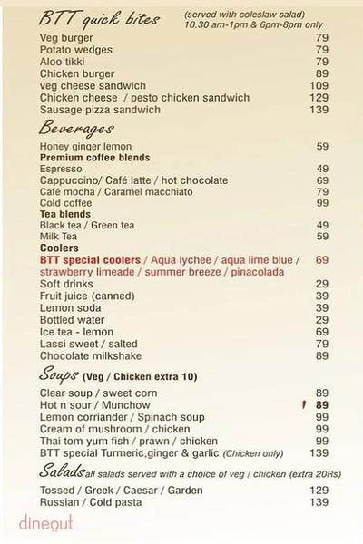 By The Tree Cafe Menu
