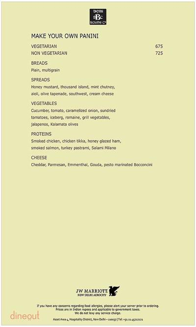 Delhi Baking Company - JW Marriott Menu 6