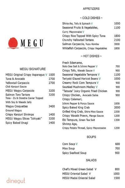Megu - The Leela Palace Menu