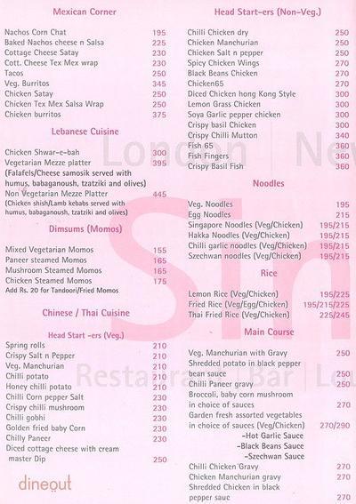 Sinciti Bar & Lounge Menu 1
