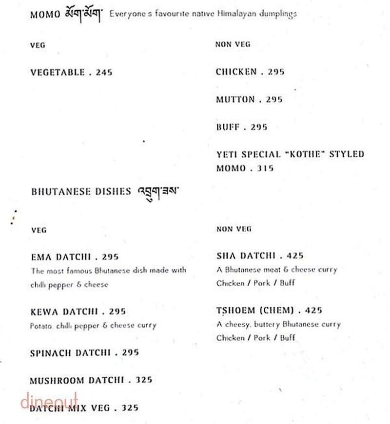 Menu Of Yeti The Himalayan Kitchen Greater Kailash 2 Delhi