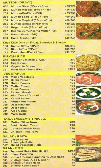 Saleem's Restaurant Menu 1