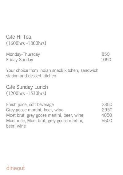 Cafe - Hyatt Regency Menu 1