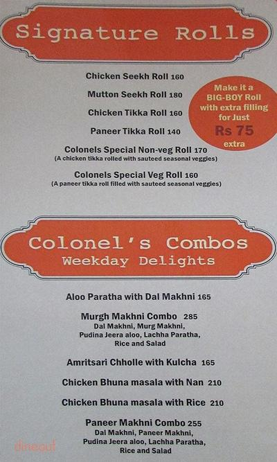 Colonel's Kababz Menu 1