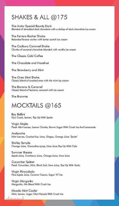 Ardor 2.1 Restaurant & Lounge Menu 21