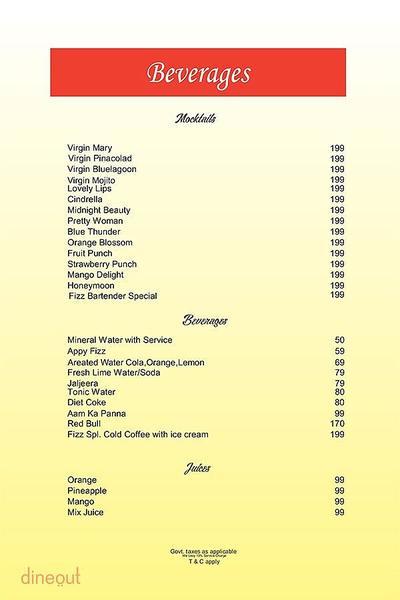 The Fizz Restaurant Bar & Lounge Menu 8