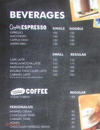 The Coffee Bean & Tea Leaf Menu