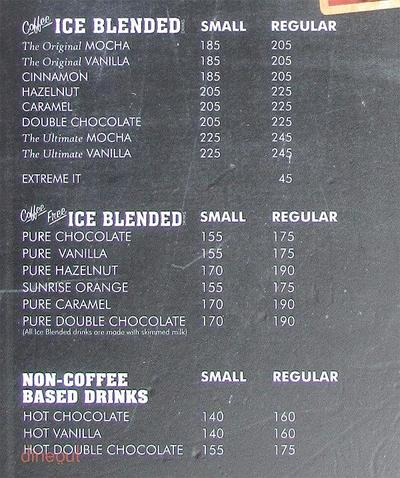 The Coffee Bean & Tea Leaf Menu 2