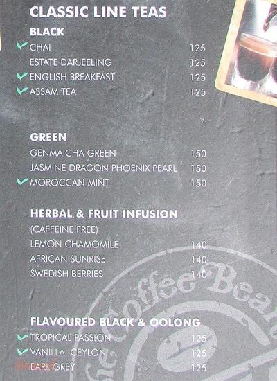 The Coffee Bean & Tea Leaf Menu 5