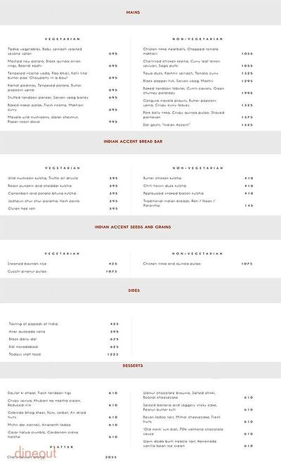 Indian Accent - The Manor Menu 4
