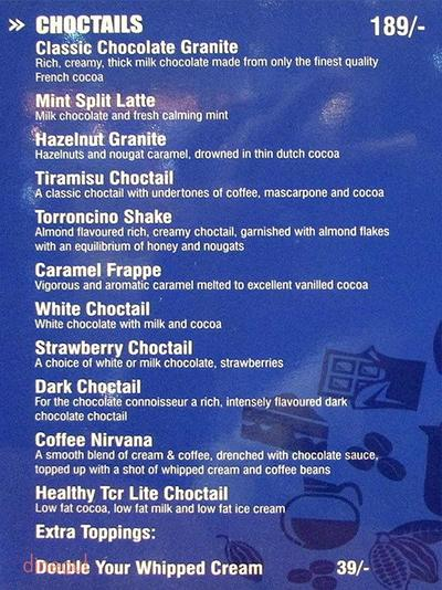 The Chocolate Room Menu 20