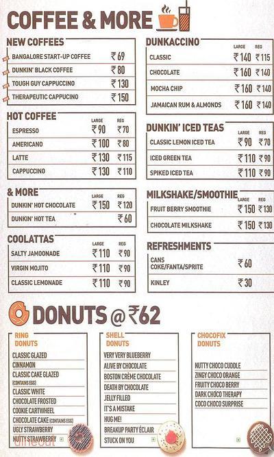 Dunkin' Donuts Menu 1