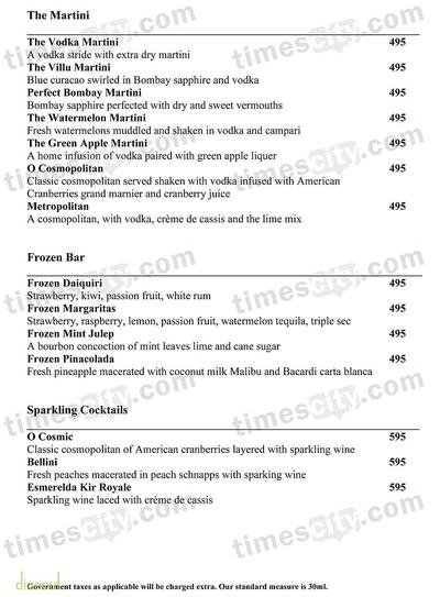 Lounge Bar - The O Hotel Menu 4