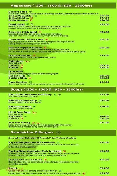 Cafe Bay Leaf Menu