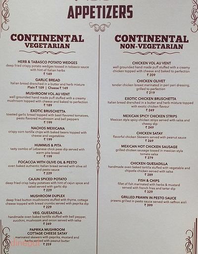Aureo Dine & Bake House Menu