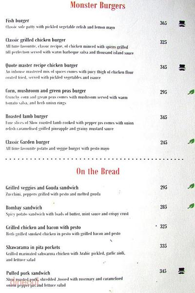 Quote - The Eclectic Bar and Lounge Menu 3