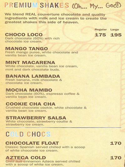 Chocolateria San Churro Menu 2