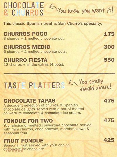 Chocolateria San Churro Menu