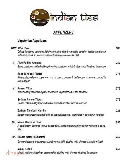 Indian Ties - The E-Square Hotel Menu