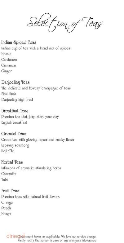 Tea Lounge - Radisson Blu Hotel Paschim Vihar Menu 1