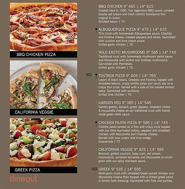 California Pizza Kitchen Kids Menu
